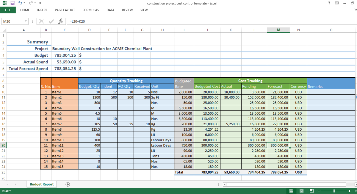 Construction project cost control - excel template - WorkPack