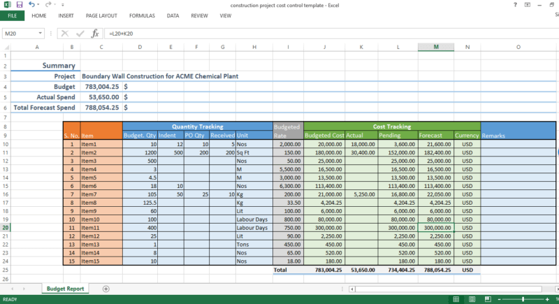 Construction Project Cost Control Excel Template Workpack